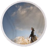 Victorian Or Edwardian Woman Alone In A Sunny Meadow Round Beach Towel