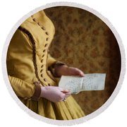 Victorian Woman Reading A Love Letter Round Beach Towel