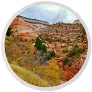 View Along East Side Of Zion-mount Carmel Highway In Zion National Park-utah   Round Beach Towel
