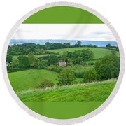 View From Glastonbury Tor Round Beach Towel