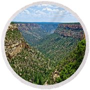 View From Sun Temple In Mesa Verde National Park-colorado  Round Beach Towel