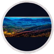 View From Table Rock Mountain Round Beach Towel