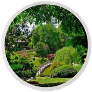 View Of A Japanese Garden Round Beach Towel