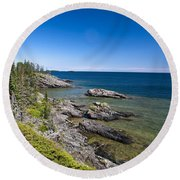 View Of Rock Harbor And Lake Superior Isle Royale National Park Round Beach Towel