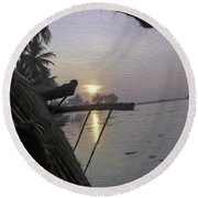 View Of Sunrise From The Window Of A Houseboat Round Beach Towel