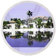 View Of The Cottages And Lagoon Water In Alleppey Round Beach Towel