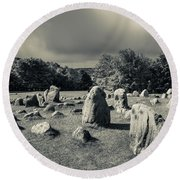 Viking Burial Ground, Lindholm Hoje Round Beach Towel