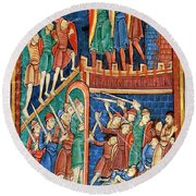 Vikings Invade England 9th Century Round Beach Towel by Photo Researchers