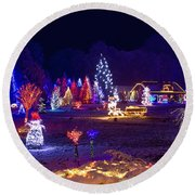 Village In Christmas Lights Panoramic View Round Beach Towel