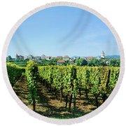 Vineyard, Alsace, France Round Beach Towel