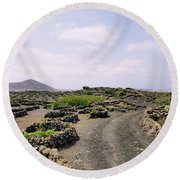 Vineyard On Lanzarote Round Beach Towel