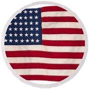 Vintage American Flag Round Beach Towel
