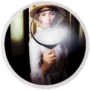 Vintage Archaeologist With Large Magnifying Glass Round Beach Towel