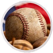 Vintage Baseball Round Beach Towel
