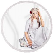 Vintage Beauty Round Beach Towel