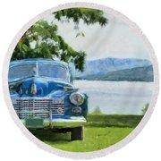Vintage Blue Caddy At Lake George New York Round Beach Towel