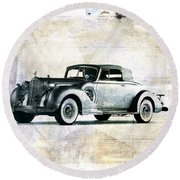 Vintage Car Round Beach Towel