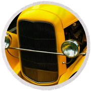 Vintage Car Yellow Detail Round Beach Towel
