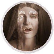 Vintage Halloween Portrait. Gothic Vampire Girl Round Beach Towel