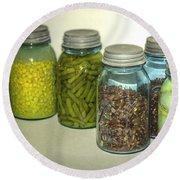Vintage Kitchen Glass Jar Canning Round Beach Towel