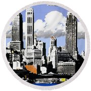 Vintage New York Travel Poster Round Beach Towel