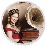 Vintage Pin-up Girl Listening To Record Player Round Beach Towel