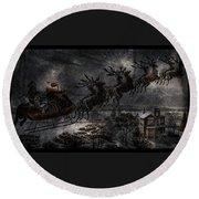 Vintage Santa Stormy Midnight Ride Reindeer Sleigh Round Beach Towel