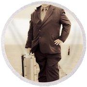 Vintage Traveling Business Man Round Beach Towel