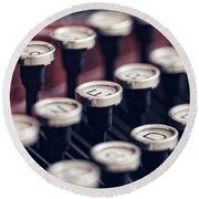 Vintage Typewriter Keys Round Beach Towel