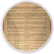 Virginia Constitution, 1776 Round Beach Towel