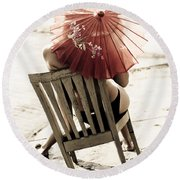 Vision Of A Simple Life Round Beach Towel