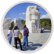 Visitors At The Martin Luther King Jr Memorial Round Beach Towel