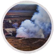 Volcano Crater Big Island Hawaii  Round Beach Towel
