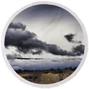 Volcano Vog Big Island Hawaii V2 Round Beach Towel