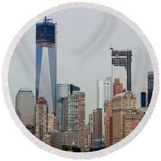 1 W T C And Lower Manhattan Round Beach Towel