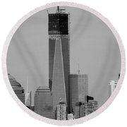 1 W T C Helos And Boats In Black And White Round Beach Towel