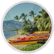 Kenolio Beach Sugar Beach Kihei Maui Hawaii  Round Beach Towel