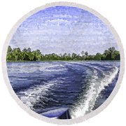 Wake From The Wash Of An Outboard Motor Round Beach Towel