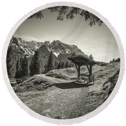 walking in the Alps - bw Round Beach Towel