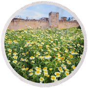 Walls Of Fes In Morocco Round Beach Towel
