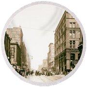 Walnut Street - Kansas City 1906 Round Beach Towel