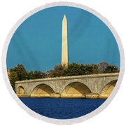 Washington D.c. - Memorial Bridge Spans Round Beach Towel