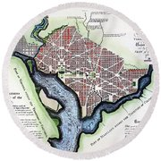 Washington, Dc, Plan, 1792 Round Beach Towel