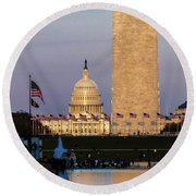 Washington D.c. - Us Flags With Cropped Round Beach Towel
