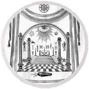 Washington Masonic Apron Round Beach Towel