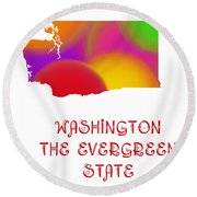 Washington State Map Collection 2 Round Beach Towel
