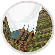 Wat Po In Bangkok-thailand Round Beach Towel