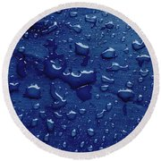 Water Drops On Metallic Surface Round Beach Towel
