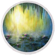 Water Lilies At Sunrise Round Beach Towel