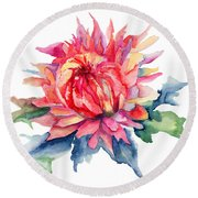 Watercolor Illustration With Beautiful Flowers  Round Beach Towel